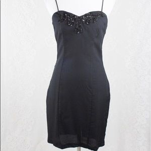 Vintage | 80s Little Black Dress Sequin Mini